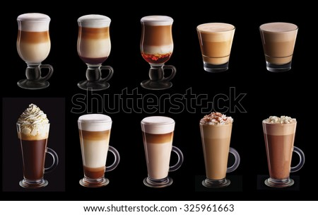 Ten coffee coctails collage set isolated on black background - stock photo