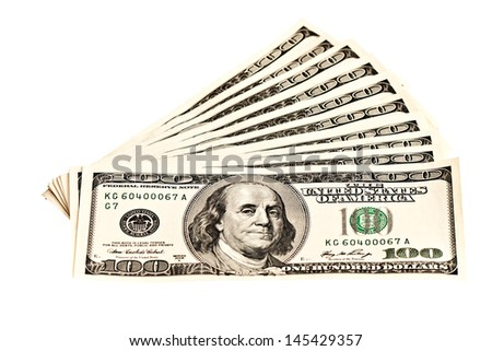 Ten 100 dollar banknotes isolated on white - stock photo