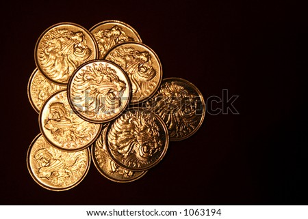 Ten ethiopian coins 25 cents. Back. - stock photo