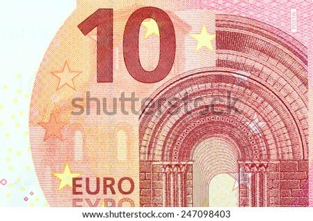Ten Euro Banknote in a macro shot - stock photo