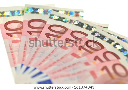 ten euro banknotes - stock photo
