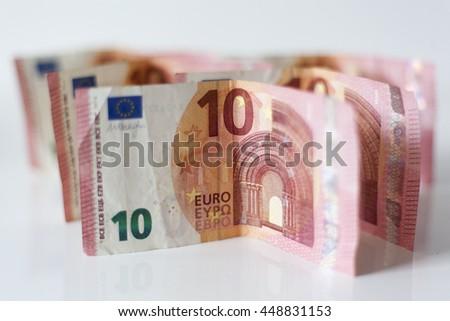 Ten euro banknotes money - stock photo