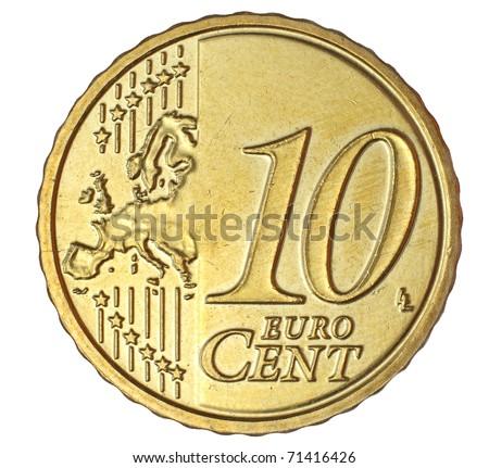 Ten euro cent on white background - stock photo