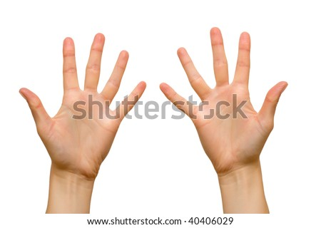 Ten fingers of female hands. Isolated over white. - stock photo