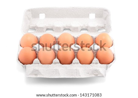 Ten fresh eggs in a carton package isolated on a white background - stock photo