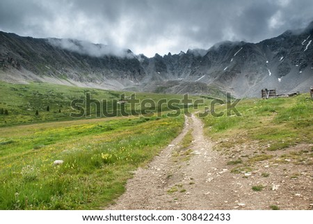 Ten Mile Range along the Mayflower Gulch Trail in Colorado. - stock photo
