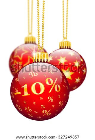 Ten Percent, 10%, Price Reduction Red Christmas Baubles - Christmas Offers, Seasonal Discount and Advertising for Online Shops. Christmas Ball for Christmas Time. Ornaments and Decorations for X-MAS. - stock photo