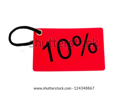 ten percent red paper tag isolated on white background - stock photo