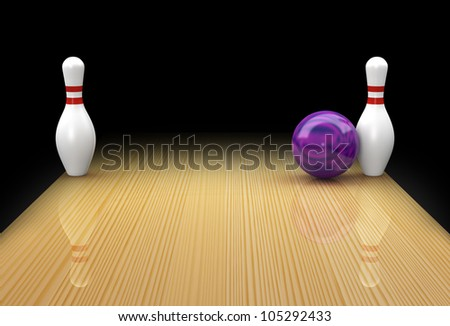 Ten pin bowling lane with mauve ball in action picking up a Bed Posts or Snake Eyes spare on black background - stock photo