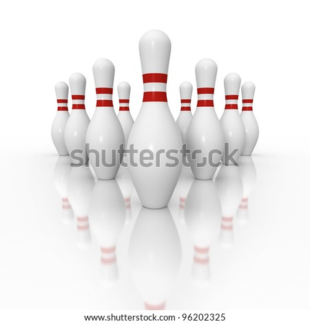 Ten pin bowling setup in wide angle perspective on white background with reflection - stock photo