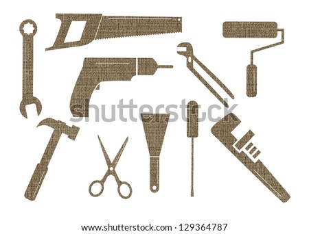 Ten textured tool shapes on a white background - stock photo