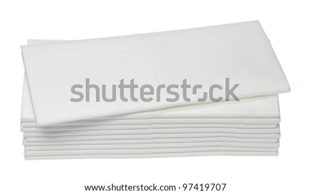 Ten white paper handkerchiefs are on one another. - stock photo