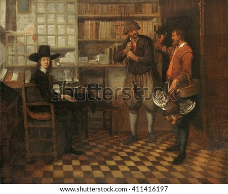 Tenant Farmer's Rent, attrib. to Quiringh van Brekelenkam, 1660-68, Dutch painting, oil on panel. Two farmers in an office to pay taxes or rent in kind. One man has brought a dead chicken as payment. - stock photo