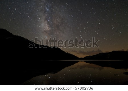 Tenaya Lake Reflection - stock photo