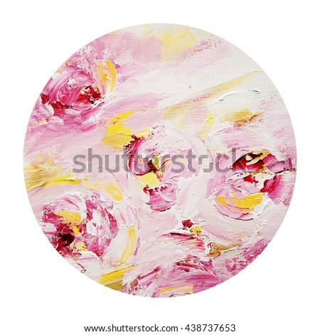 Tender abstract circle  design element,floral, pink and yellow colors - stock photo