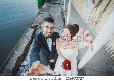 tender and romantic bride - stock photo