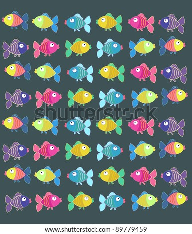Tender background with colored fish - stock photo