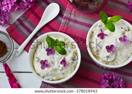 Tender  curd dessert with chocolate and raisins  - stock photo