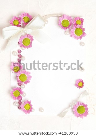 tender paper blank with flowers design - stock photo
