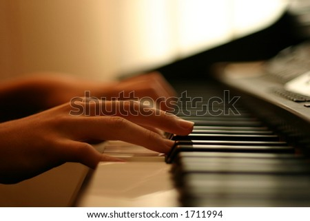 tender piano music - stock photo