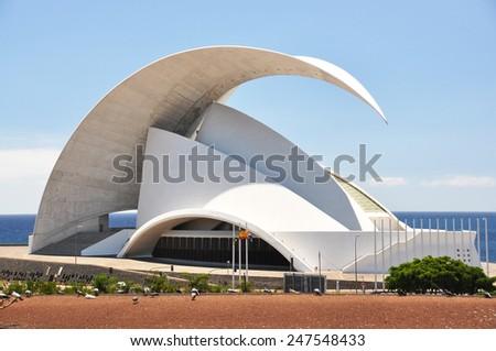 TENERIFE, SPAIN - AUGUST 18, 2010: Auditorio de Tenerife - futuristic building designed by Santiago Calatrava Valls - stock photo