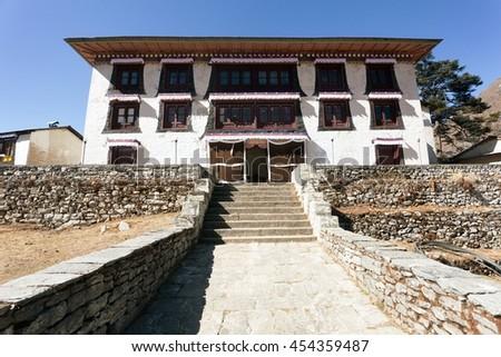Tengboche gompa - the best Buddhist Tibetan Monastery in Khumbu, Mont Everest region, Sagarmatha National Park, Nepal - stock photo