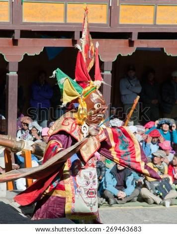 TENGBOCHE, NEPAL - 8th NOVEMBER2014: The monks celebrating during festival of Tengboche Monastery, Khumbu region, Trek to everest base camp - stock photo