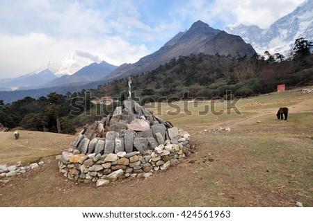 Tengboche village in Khumbu valley, Solukhumbu, Mont Everest region, Nepal, Sagarmatha National Park - stock photo