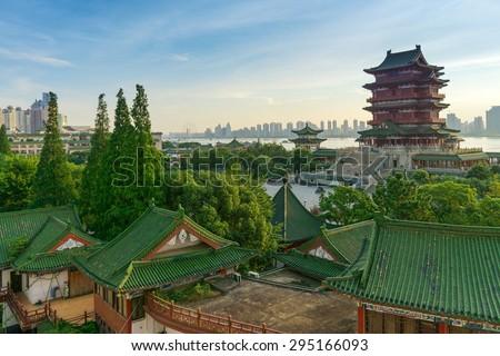 Tengwang Pavilion,Nanchang,traditional, ancient Chinese architecture, made of wood. - stock photo