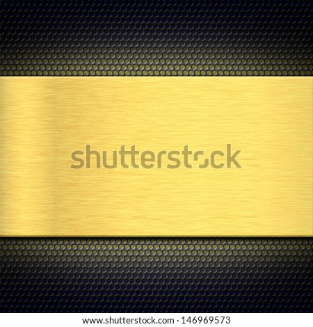 Tenmplate of gold metal plate on a grate for design - stock photo