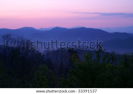 Tennessee Foothills Parkway Sunrise Horizontal - stock photo