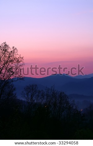 Tennessee Foothills Parkway Sunrise Vertical With Copy Space - stock photo