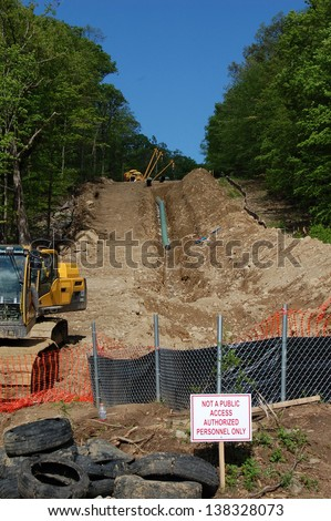 Tennessee Gas Pipeline Ringwood NJ May 2013 - stock photo