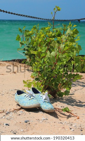 Tennies on the beach on the shore of Lake Michigan near Empire, Michigan - stock photo