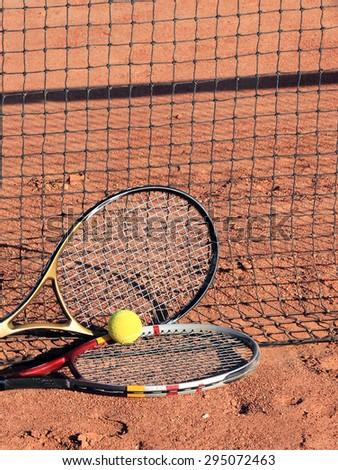 tennis ball and racket - stock photo