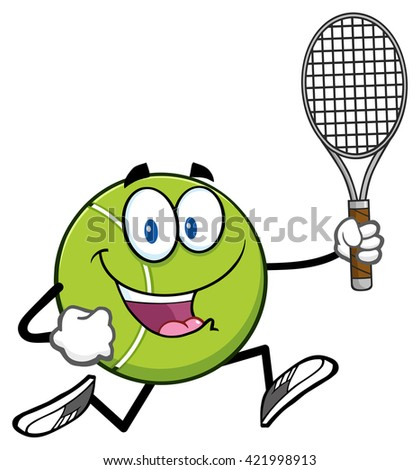 Tennis Ball Cartoon Character Running With Racket. Raster Illustration Isolated On White - stock photo