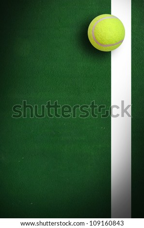 Tennis Ball in Corner court Tennis game sport background for design - stock photo