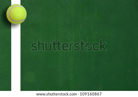 Tennis Ball in Corner court Tennis game sport background for design - stock photo