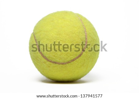 Tennis ball isolated on white. - stock photo