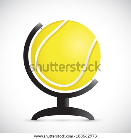tennis ball on an rotation atlas. illustration design over a white background - stock photo