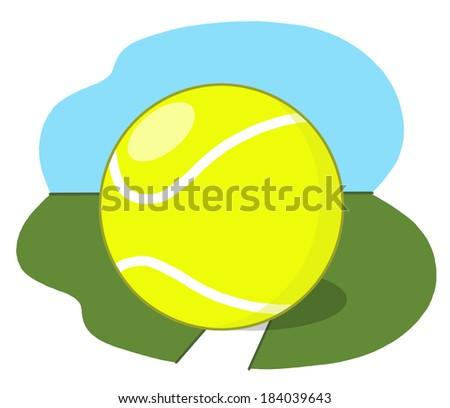 Tennis Ball on Court illustration; Tennis ball on grass field drawing - stock photo