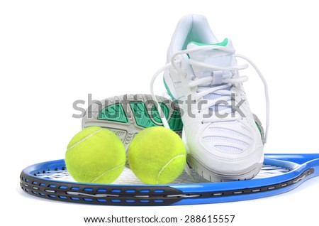 tennis ball,shoes,racket isolated on white background - stock photo