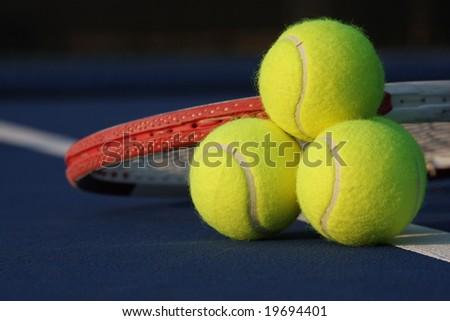 Tennis ball stack - stock photo