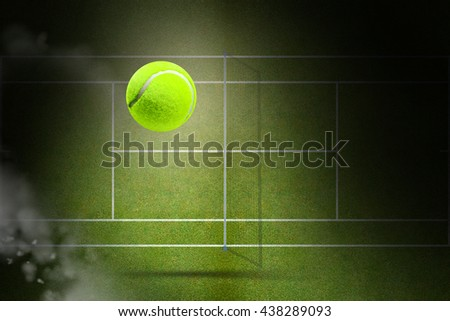 Tennis ball with a syringe against focus of tennis field - stock photo