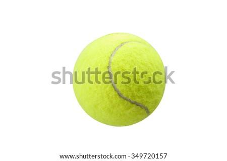 tennis ball yellow on the white backgroound - stock photo