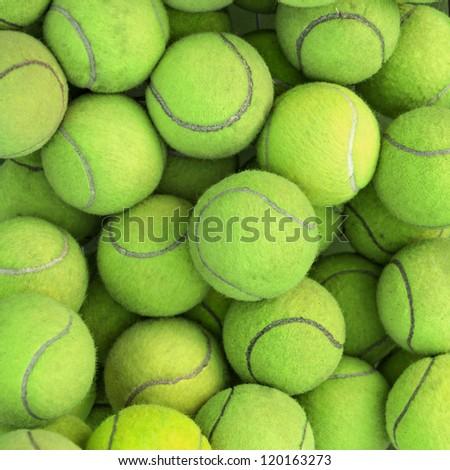Tennis balls background texture - stock photo