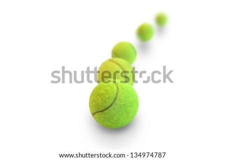 Tennis balls on a white background - stock photo