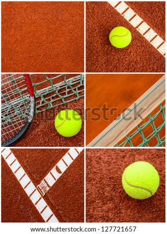 Tennis collage - stock photo