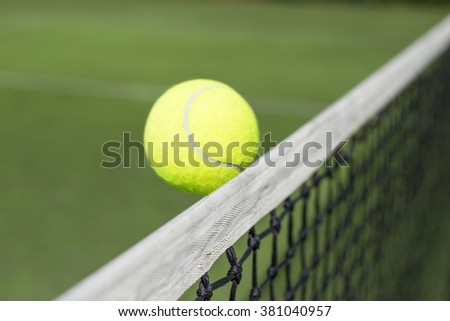 Tennis court and tennis ball  - stock photo