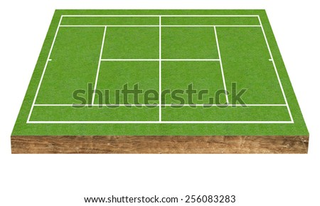 Tennis court field on green grass Baseline for a tinnis sport game isolated on white background - stock photo